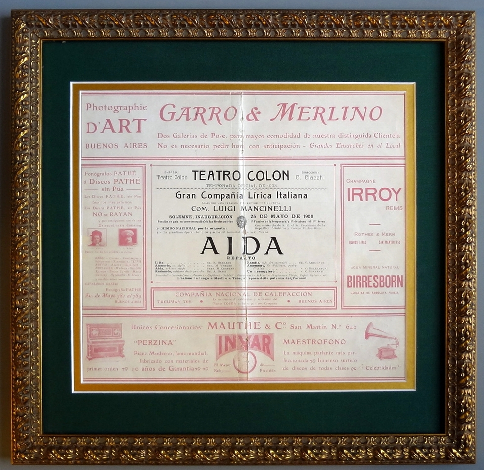 Teatro Colón Inaugural Night Program 1908