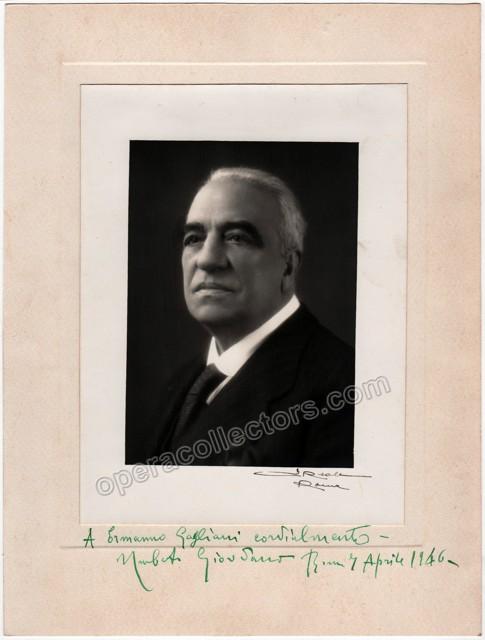 Umberto Giordano autograph photo