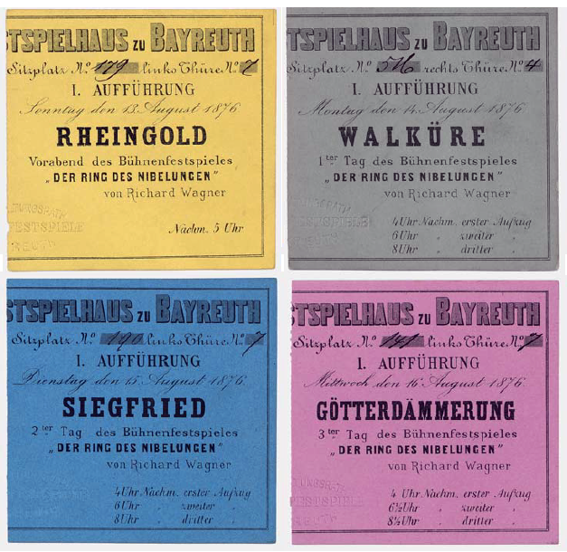 Bayreuth 1876 Ticket Stubs