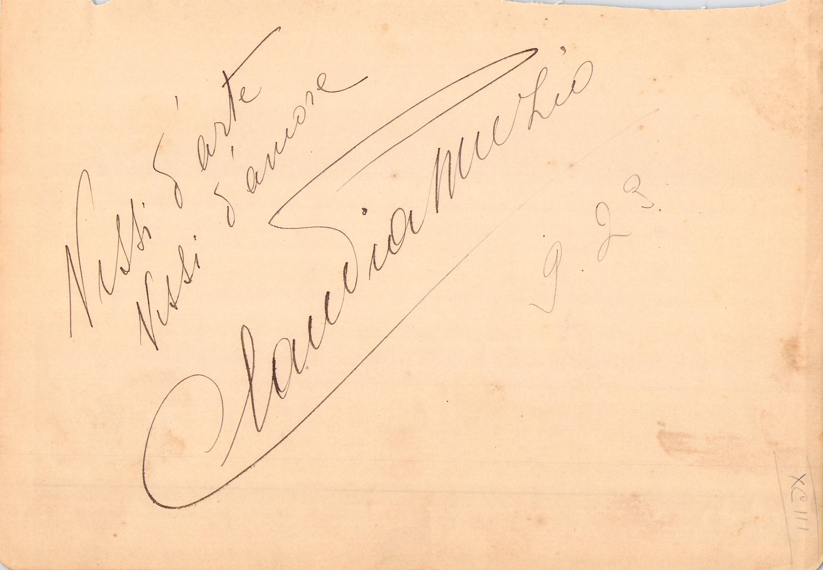 Claudia Muzio signed album page, 1920s