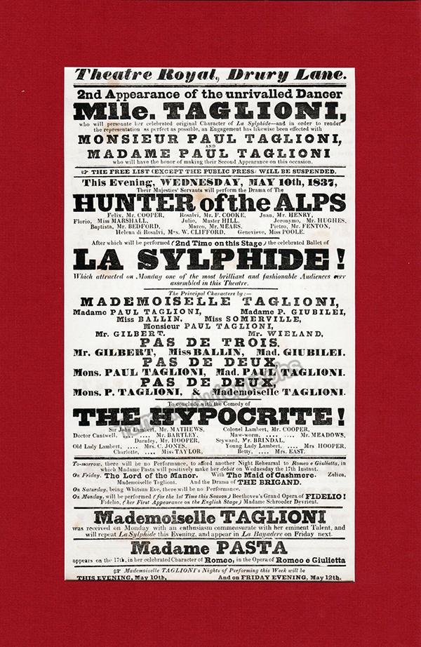 Taglioni, Marie - Drury Lanes Theater broadside, 1837