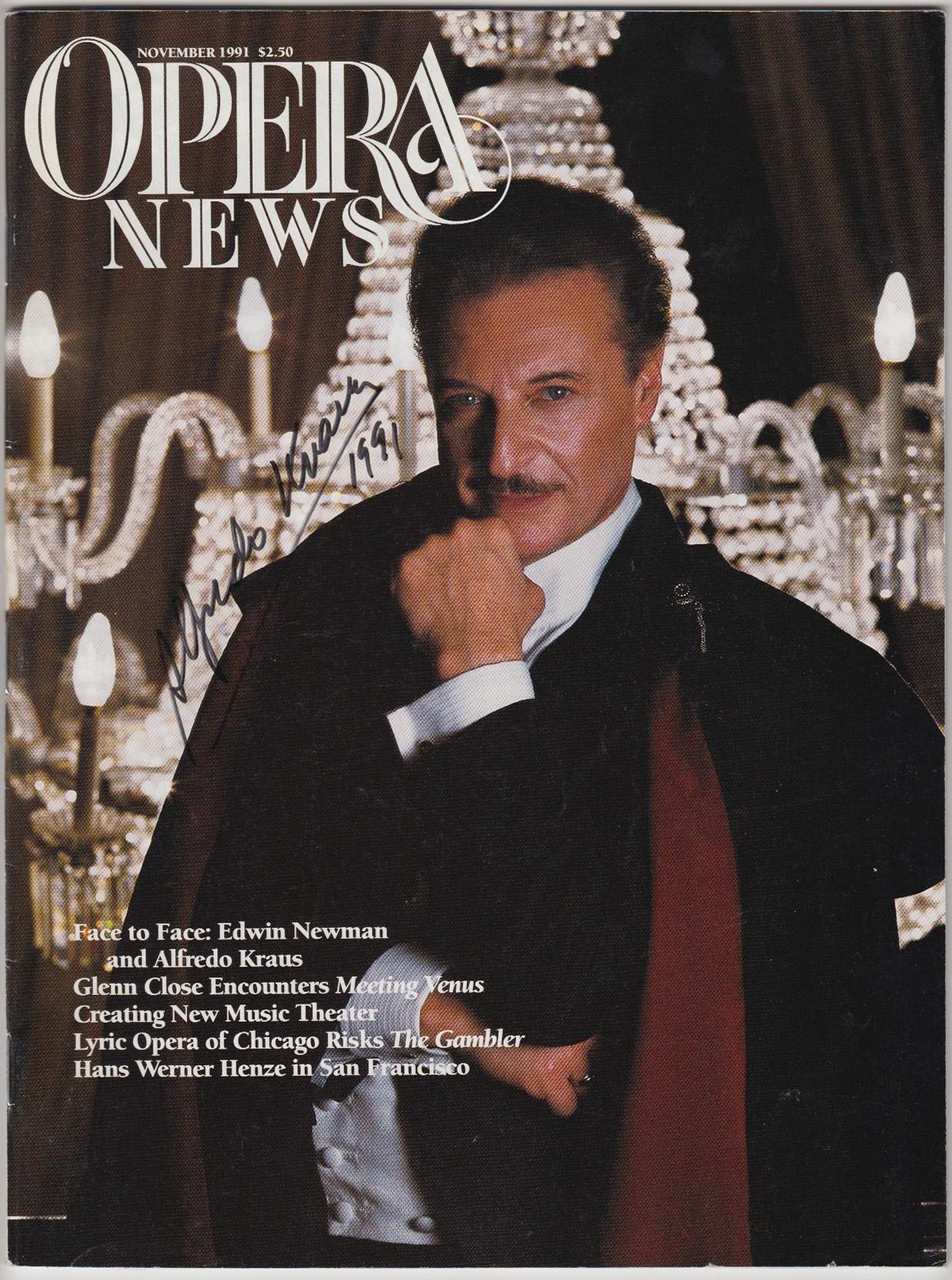 Alfredo Kraus signed opera News Magazine
