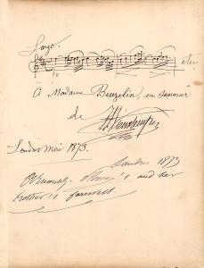 Henri Vieuxtemps - Autograph Music Quote Signed 1873