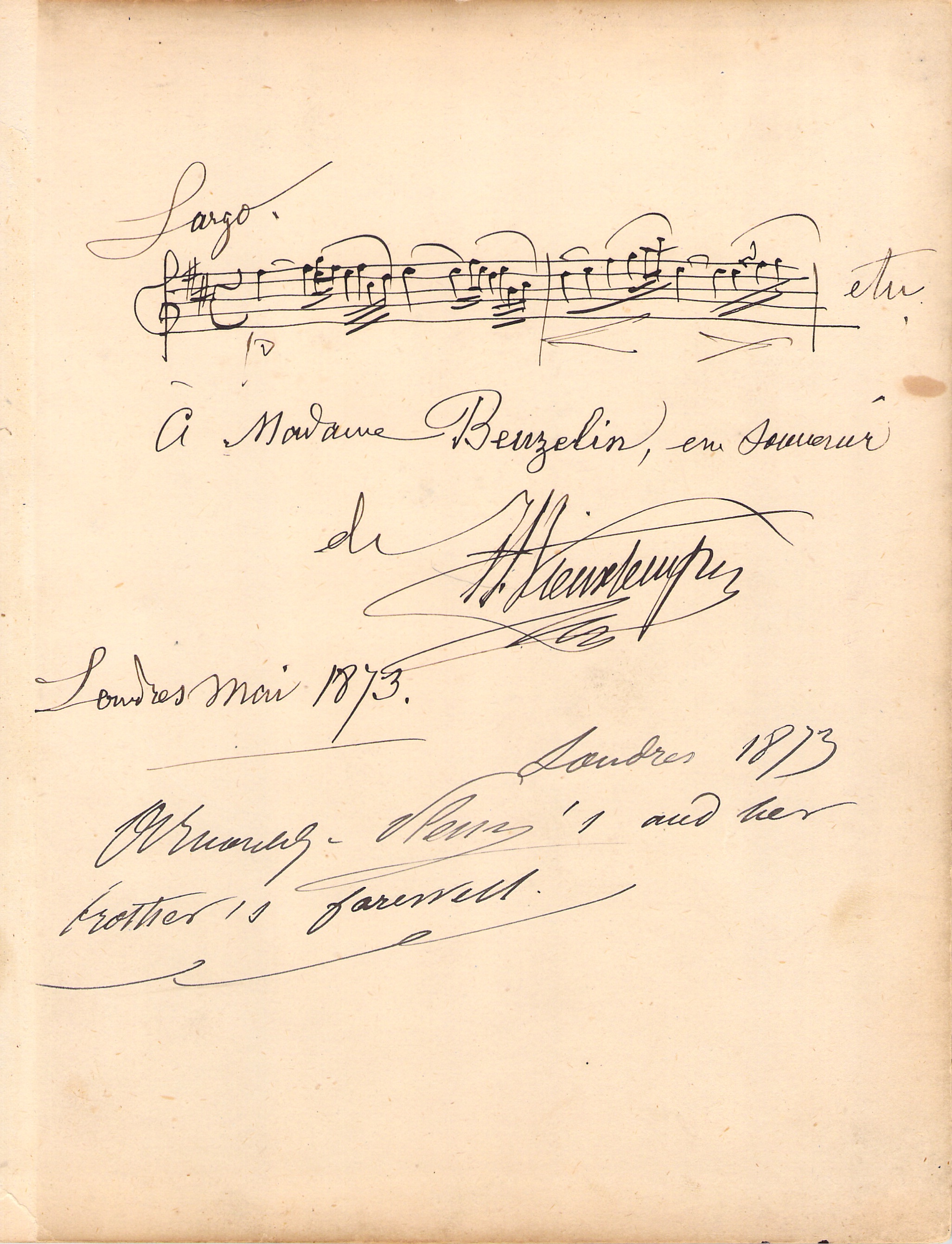Henri Vieuxtemps - Autograph Music Quote Signed 1873